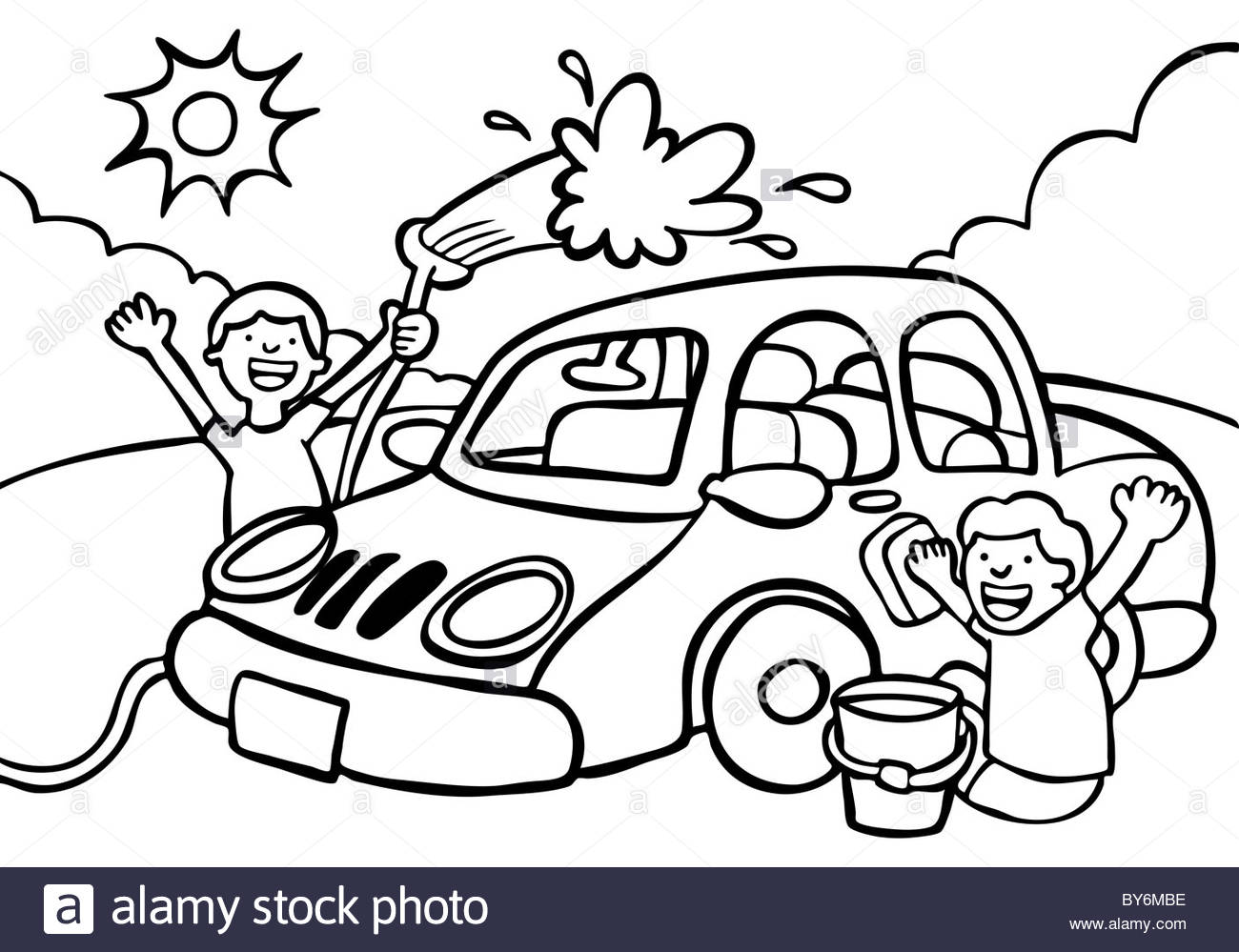 hight resolution of 1300x999 cartoon image of two kids washing a car