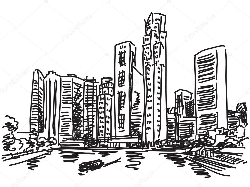 Black And White Cityscape Drawing at GetDrawings.com