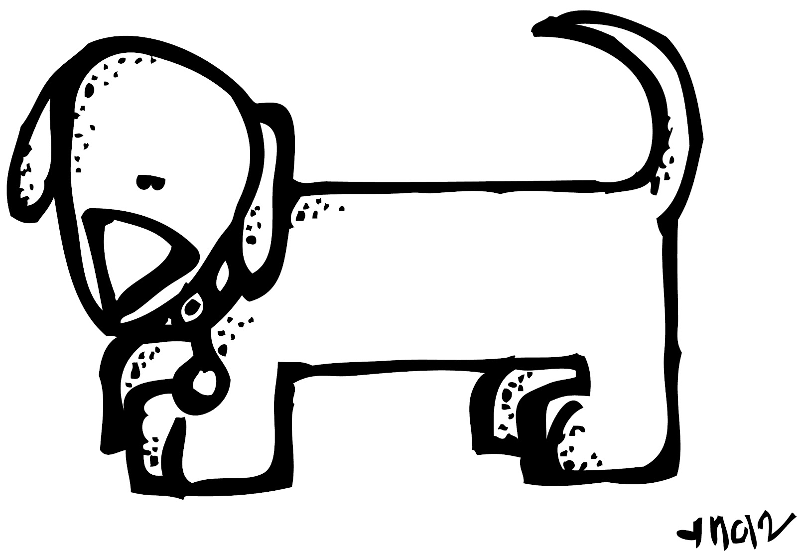 Black And White Dog Drawing At Getdrawings
