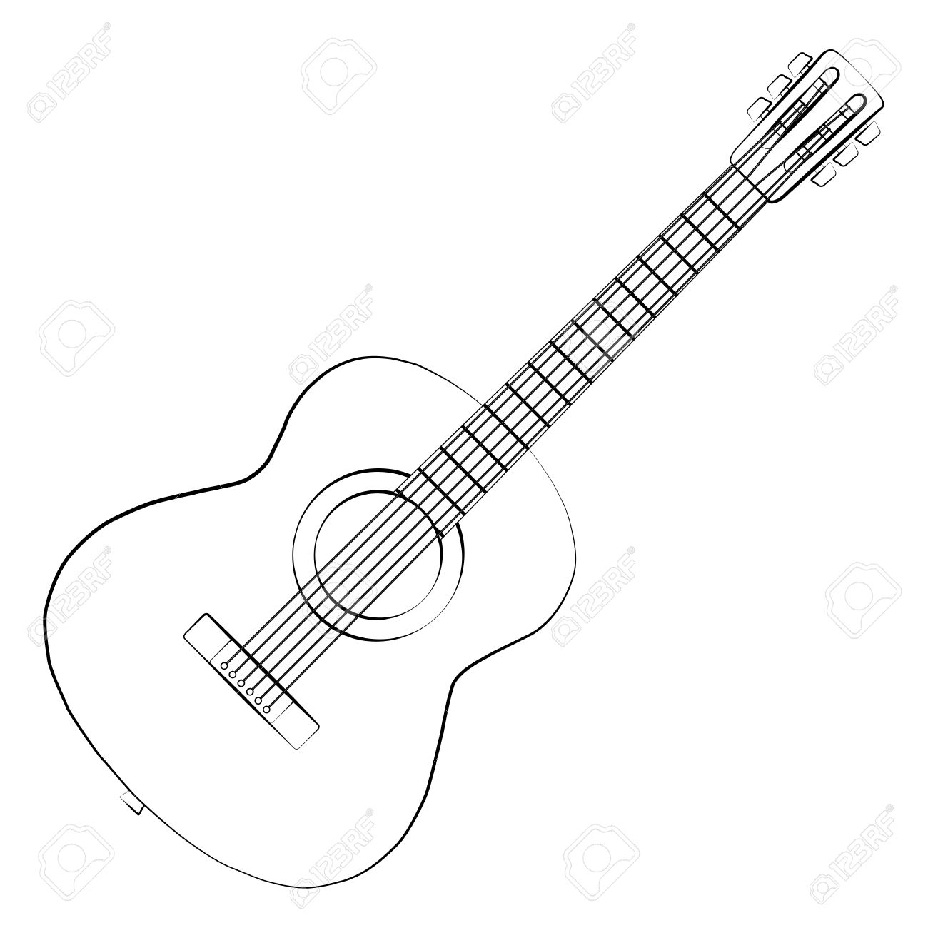 Black And White Guitar Drawing At Getdrawings