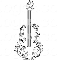 1024x1044 royalty free clip art vector black and white floral guitar logo [ 1024 x 1044 Pixel ]
