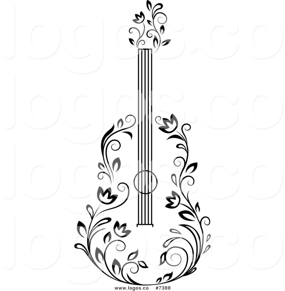 medium resolution of 1024x1044 royalty free clip art vector black and white floral guitar logo