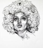 black girl afro drawing