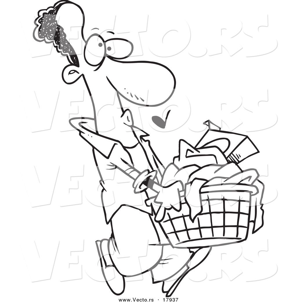hight resolution of 1024x1044 vector of a cartoon black man carrying a laundry basket