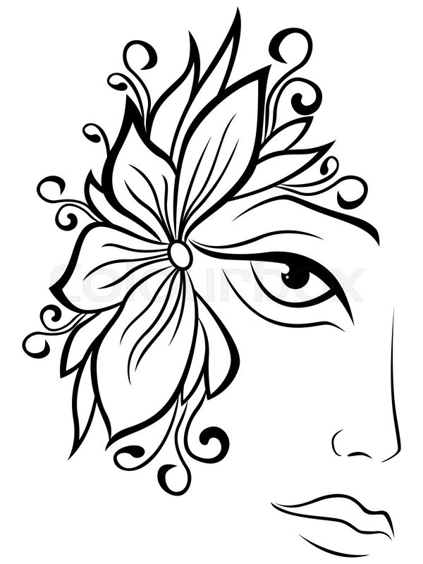 Women Face Sketch Outline Abstract Woman Face Outline