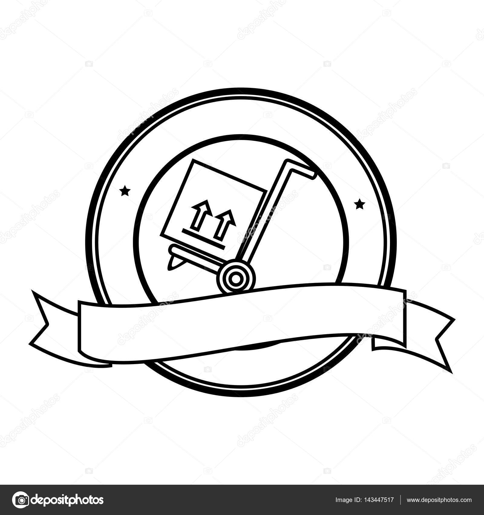 1600x1700 monochrome circular contour emblem with ribbon and hand truck with