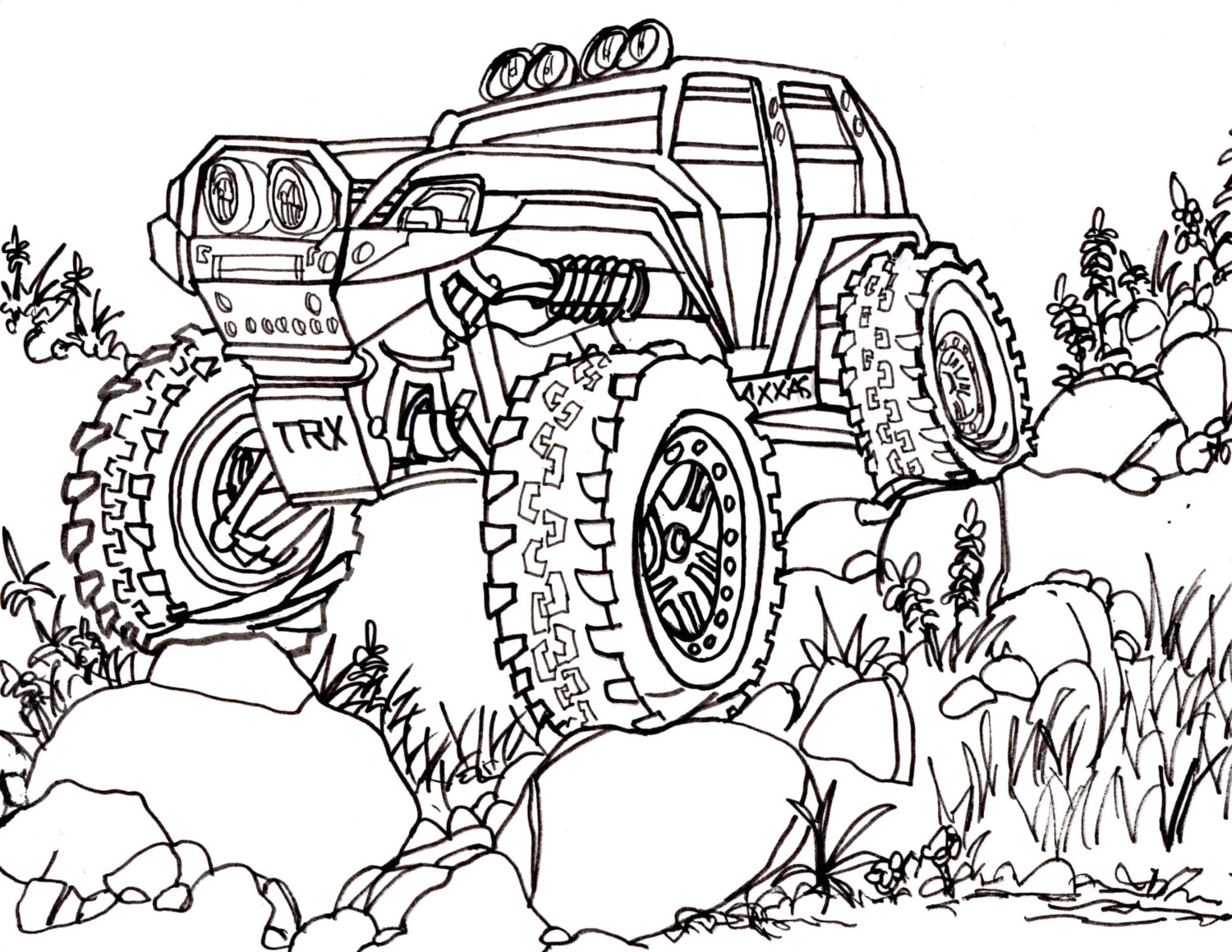 1500x1159 5 traxxas summit coloring pages drawing truck 4x4 rc