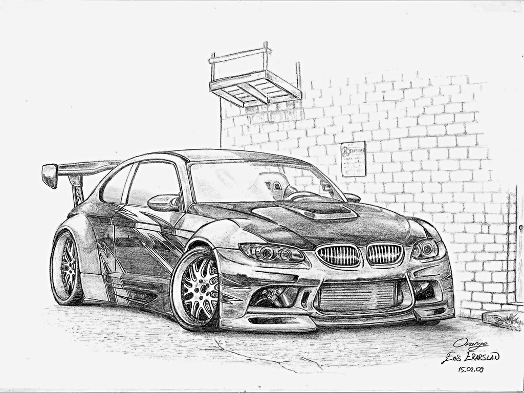 1024x768 lowrider car drawings in pencil bmw m3 drawing by orangenes on