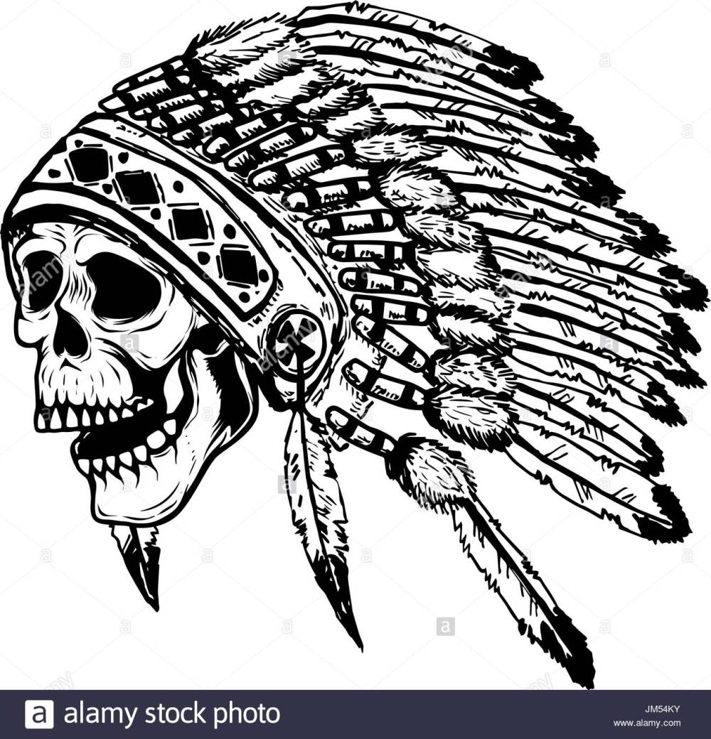 medium resolution of 1300x1353 skull in native american indian chief headdress design element
