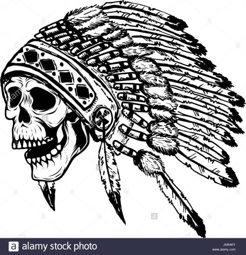 small resolution of 1300x1353 skull in native american indian chief headdress design element