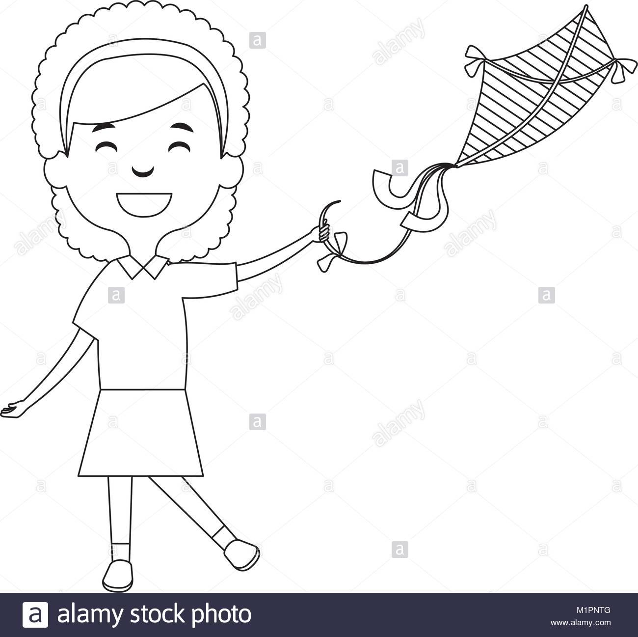 Children Flying Kites Drawing At Getdrawings