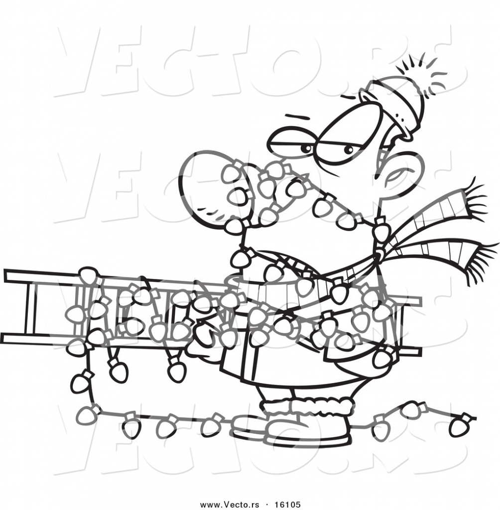 1004x1024 drawing christmas lights vector of a cartoon man tangled in