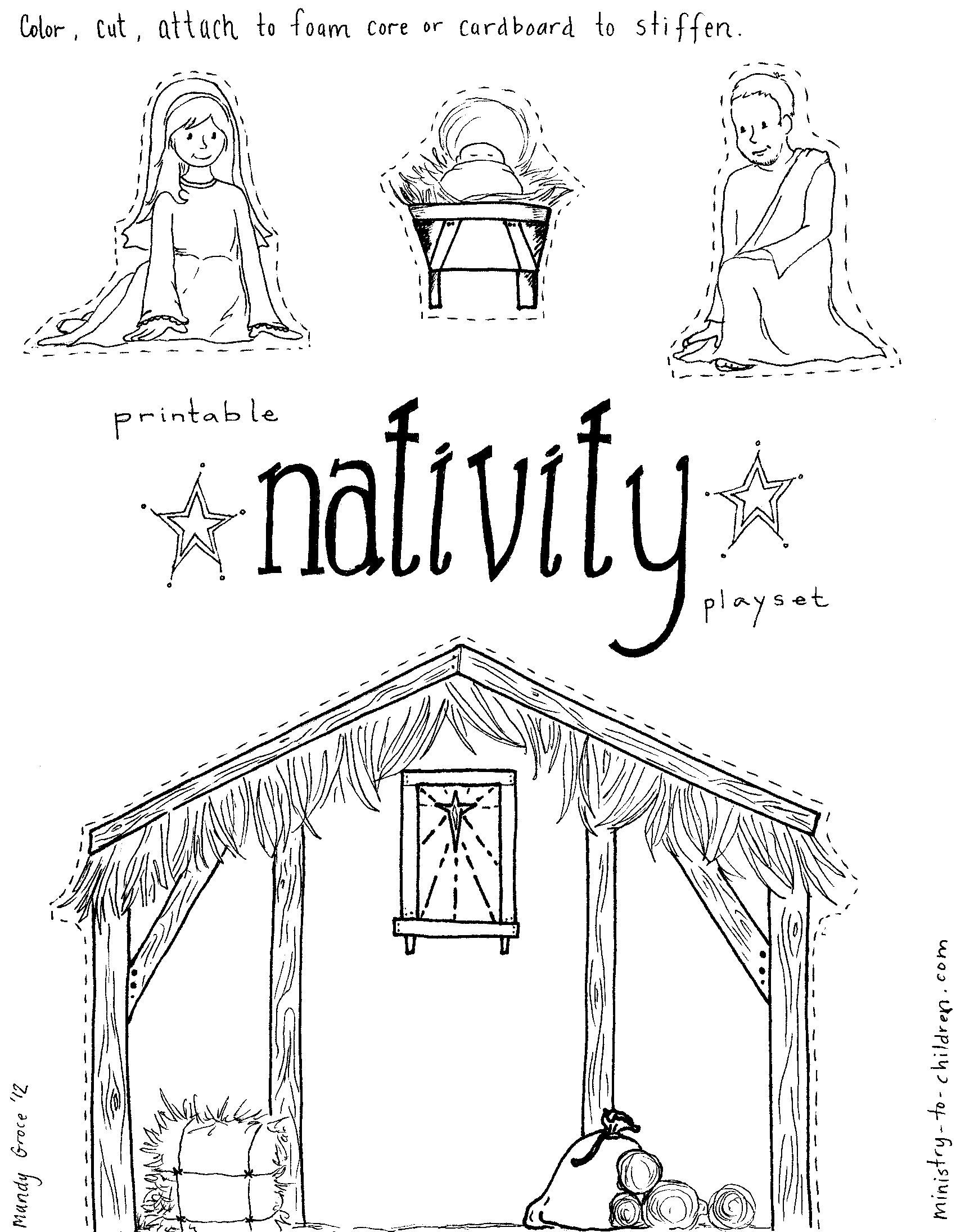Christmas Stable Drawing At Getdrawings