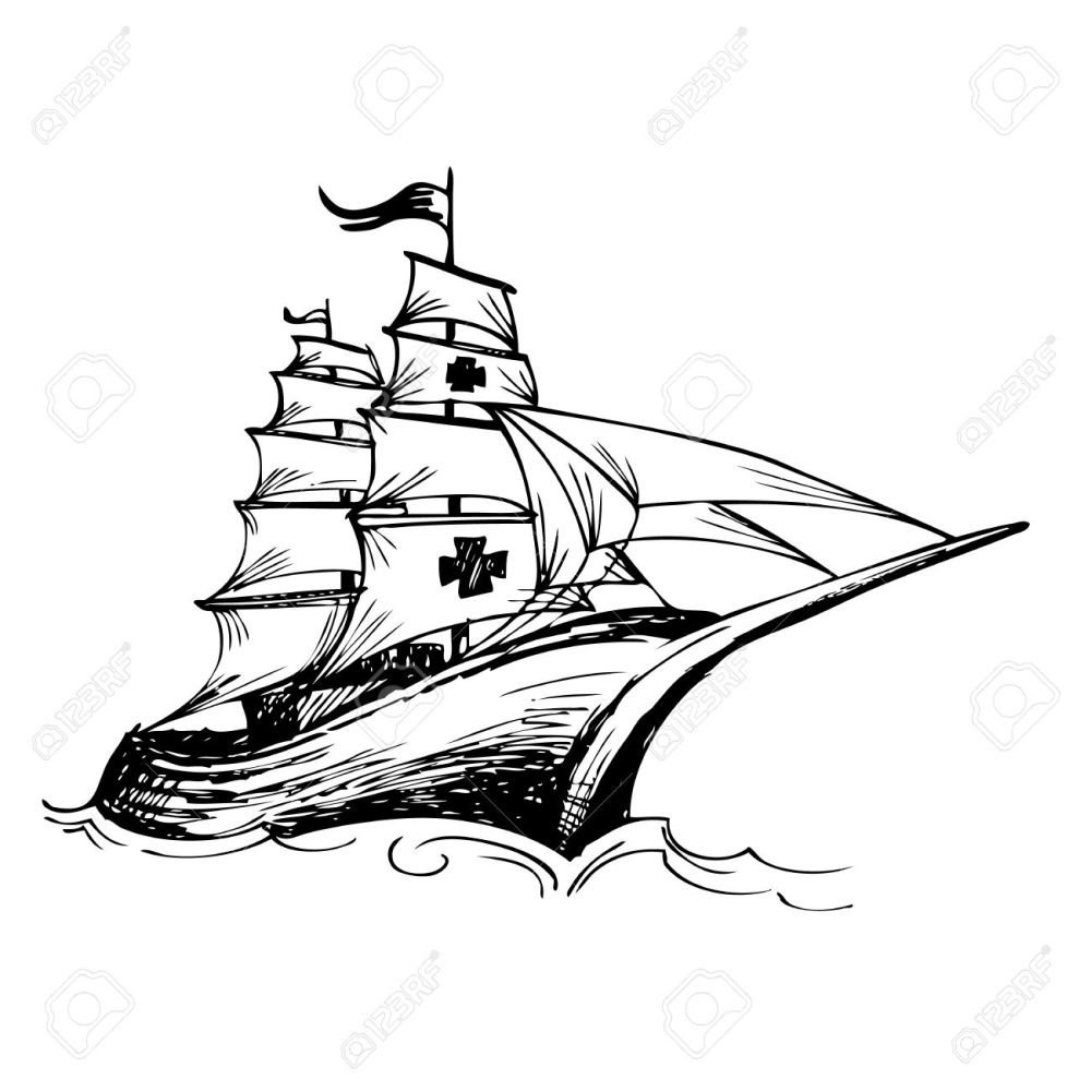 medium resolution of 1300x1300 columbus ship hand drawn by pencil made for columbus day royalty