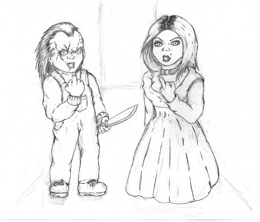 An Printable Coloring Pages Chucky Tiffeny An Best Free