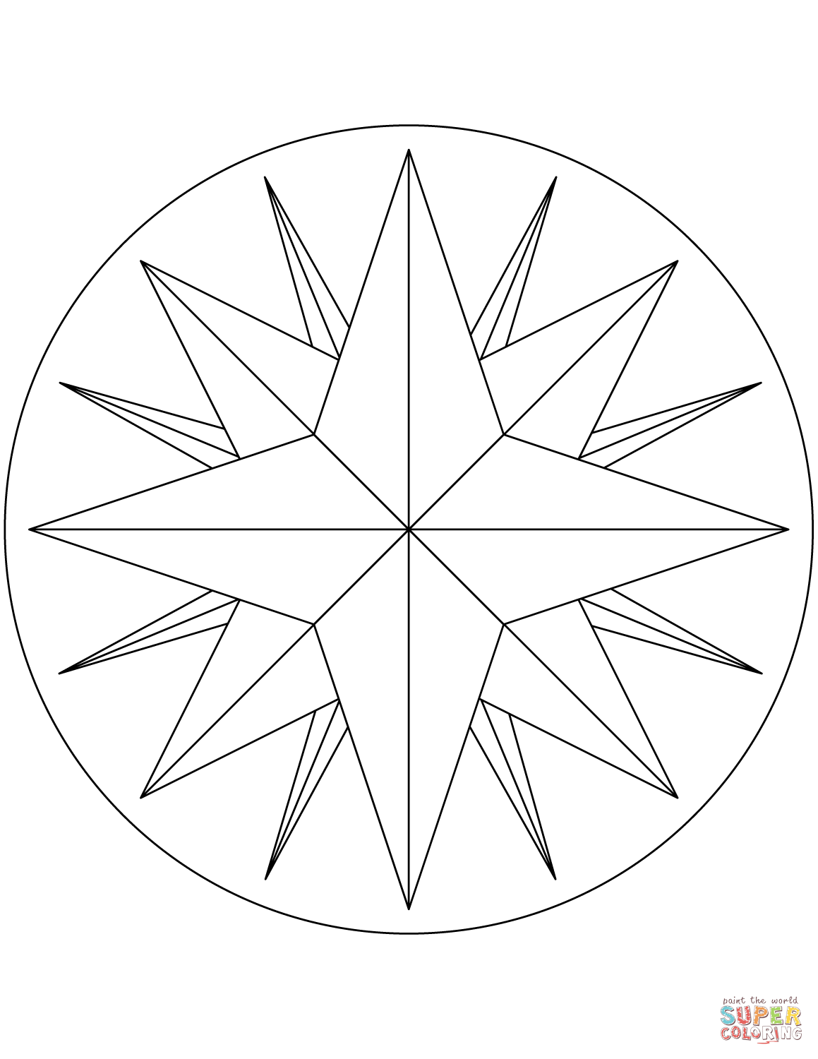 Compass Icons Free Vector Sketch Coloring Page