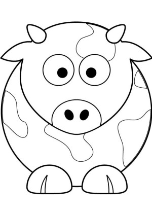 cow simple drawing cows cartoon pages cattle getdrawings