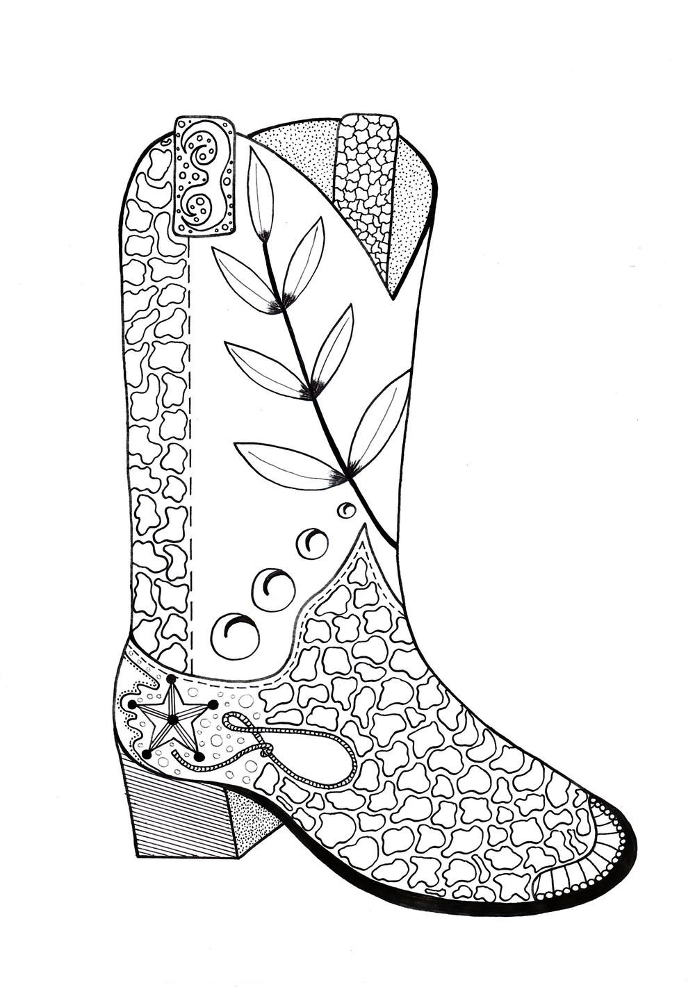medium resolution of 1000x1421 cowboy boot adult coloring page adult coloring cowboys