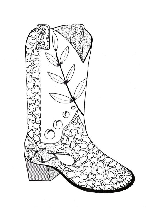 small resolution of 1000x1421 cowboy boot adult coloring page adult coloring cowboys