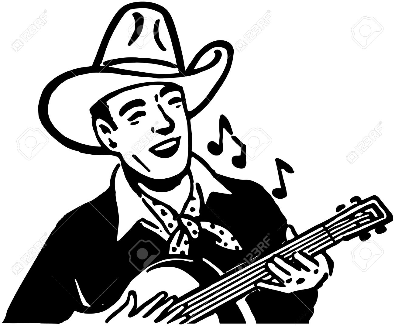 hight resolution of 1300x1073 guitar clipart cowboy hat