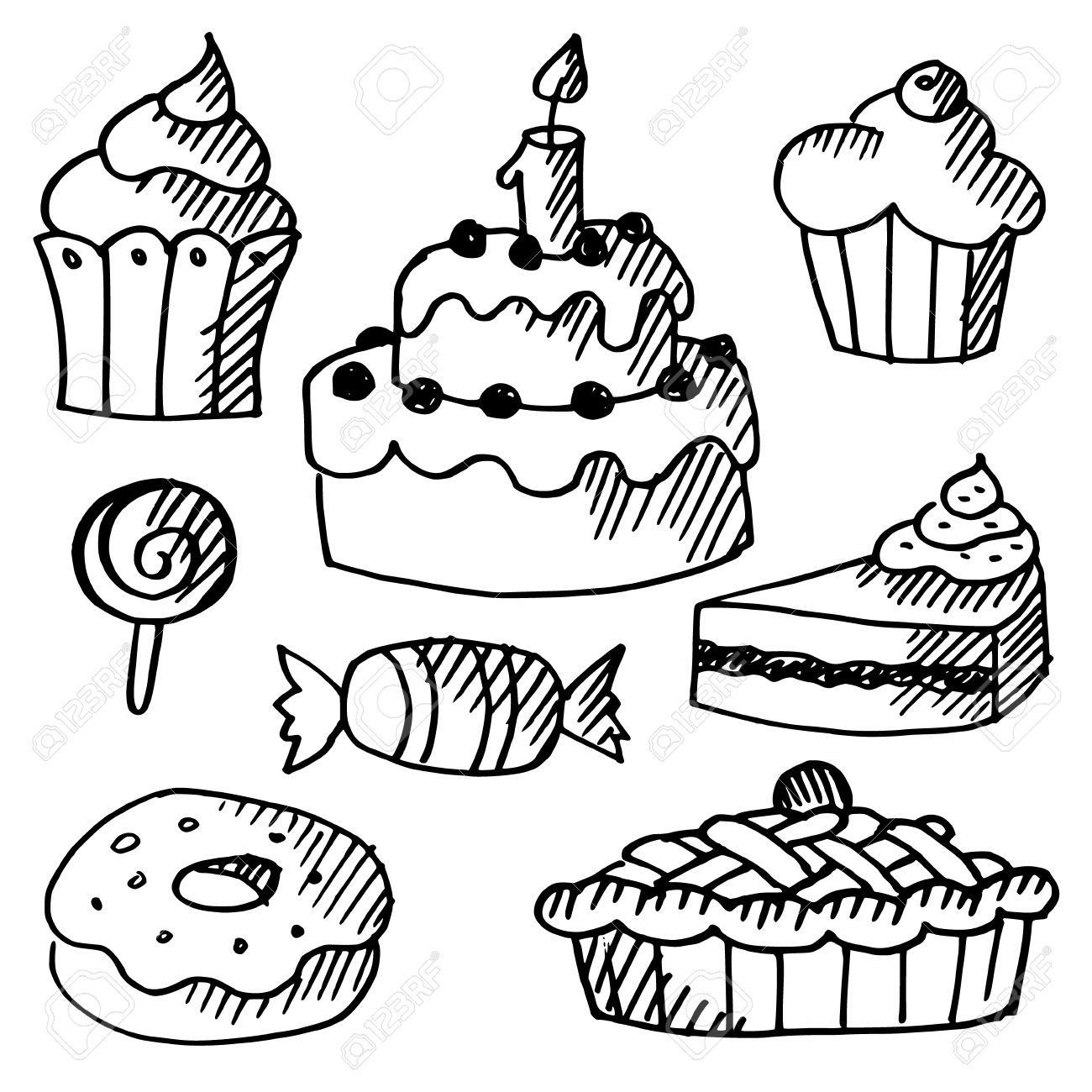 Cupcake Black And White Drawing At Getdrawings