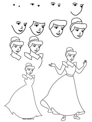 disney pencil princess drawing easy drawings princesses draw step getdrawings