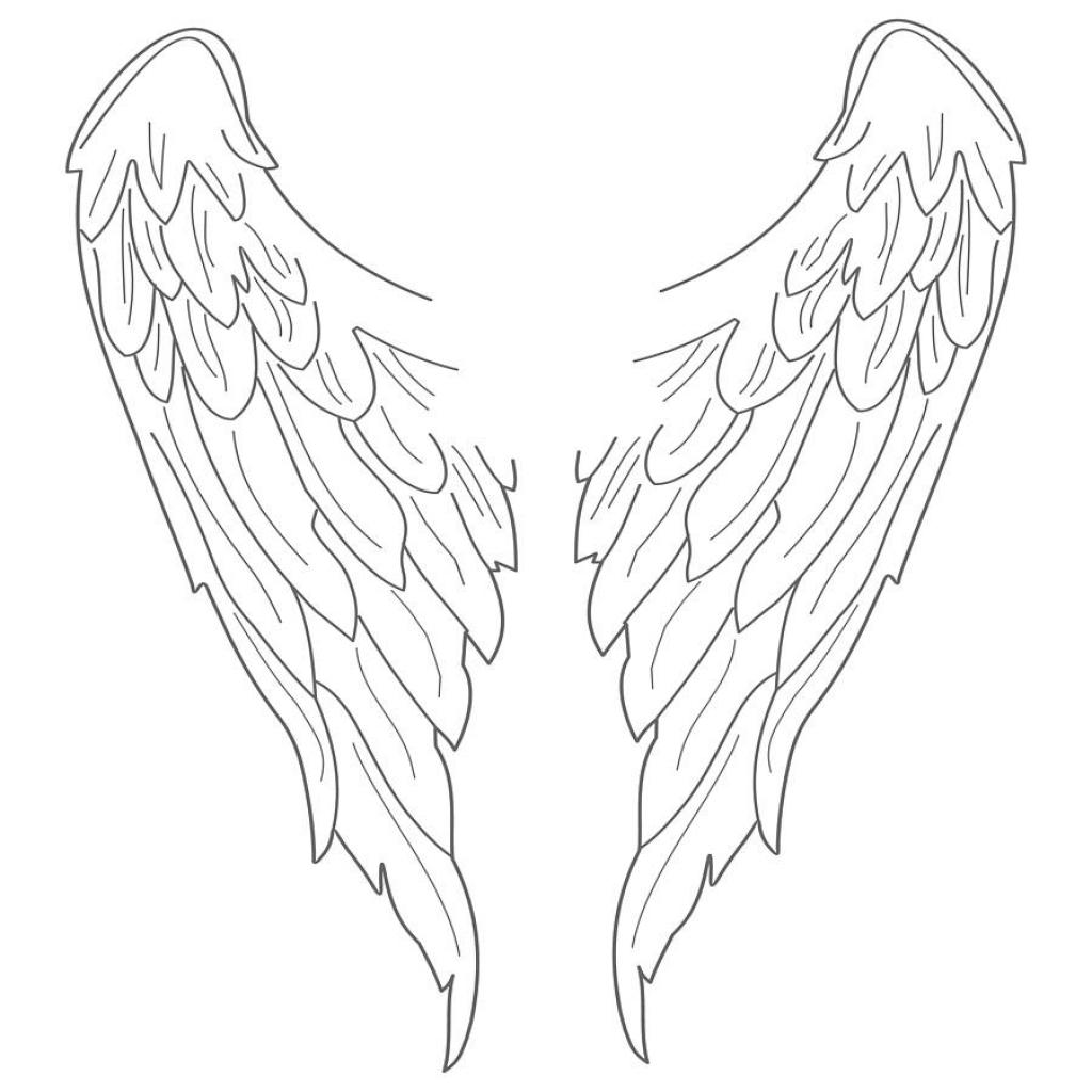 Easy Angel Wings Drawing At Getdrawings