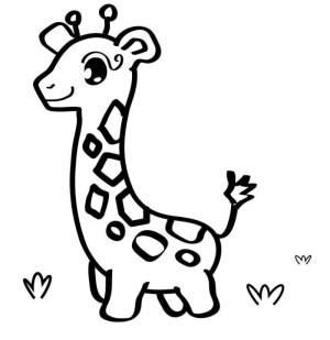 giraffe easy drawing coloring pages animals getdrawings