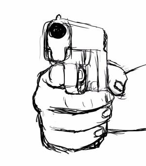 gun drawing hand easy clipart drawings getdrawings panda