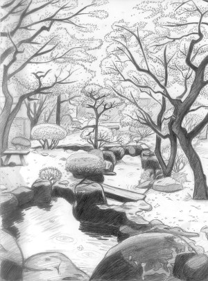 drawing easy scenery japanese landscape garden drawings natural pencil getdrawings landscaping village realistic nature simple