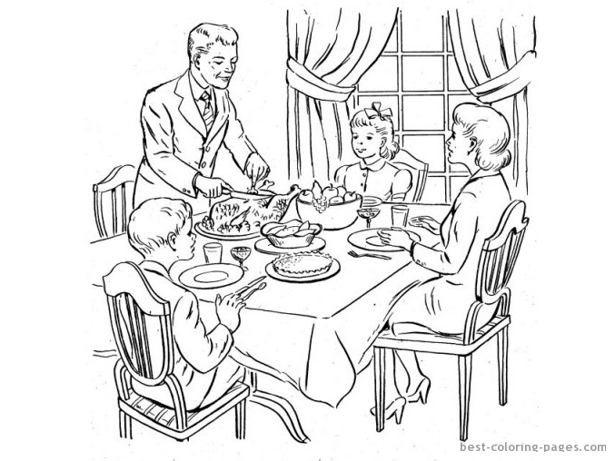 Eating Dinner Colouring Pages Sketch Coloring Page