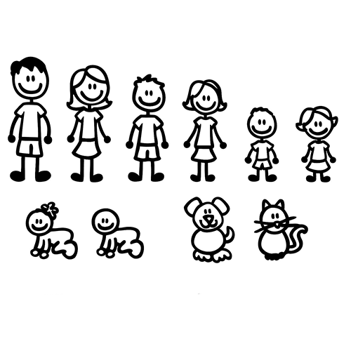 Cartoon Large Family Stick Figure Car Decal Sticker