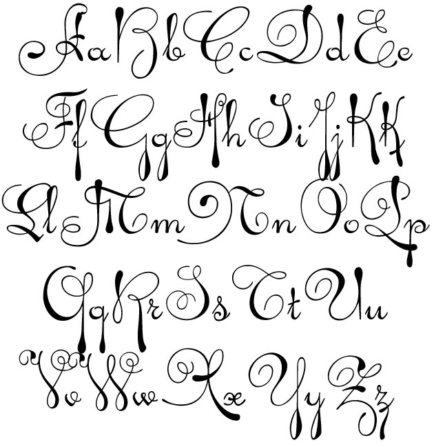 Tattoo Style Alphabet Letters
