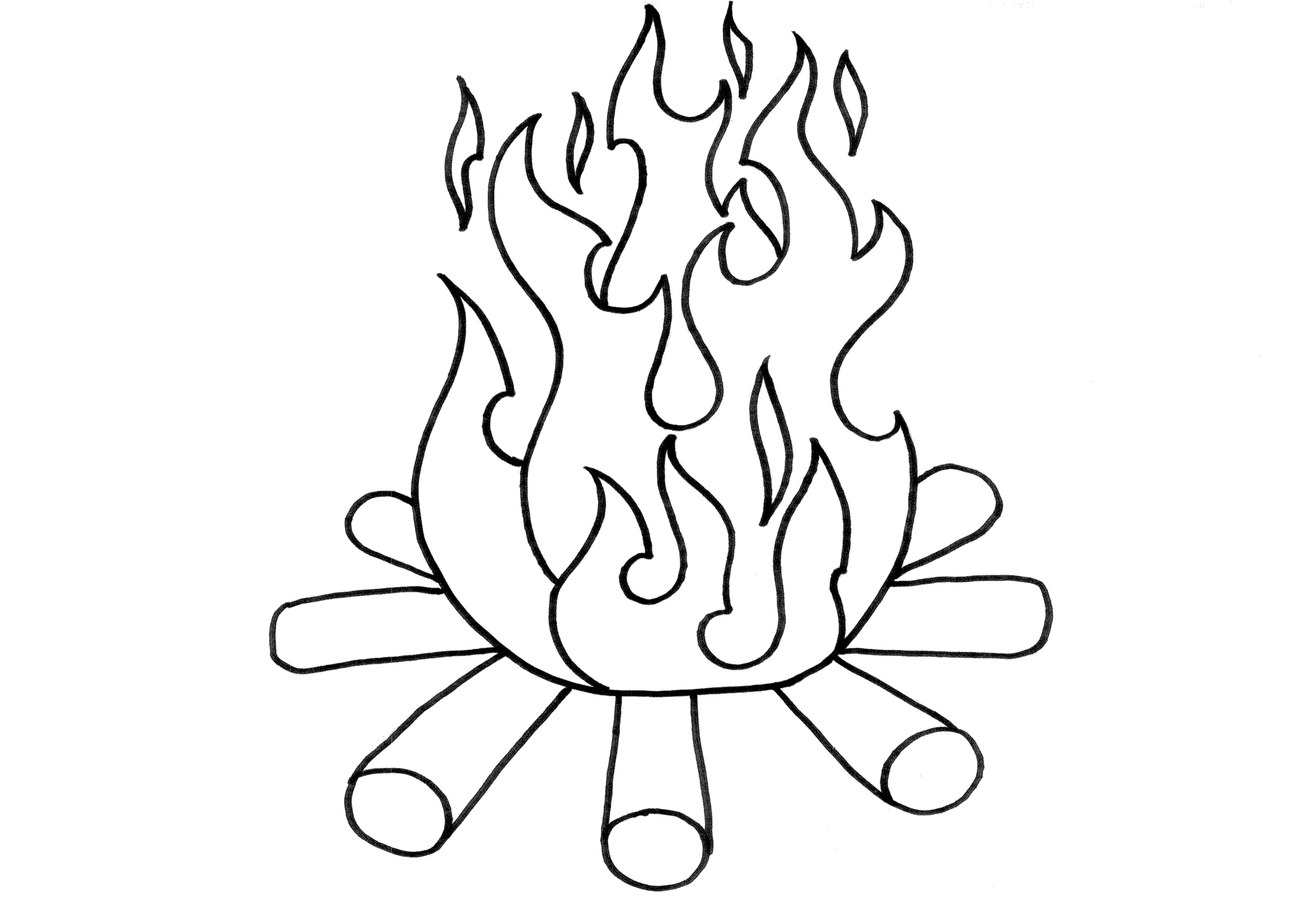 Flame Line Drawing At Getdrawings