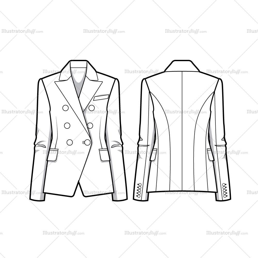 1000X1000 Double Breasted Tailored Blazer Jacket Flat Template – Illustrator