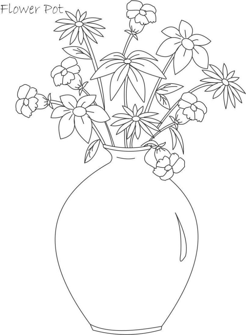 Easy Drawing Of Flower Pot Wajiflower Co