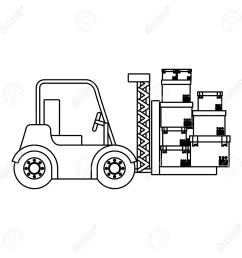 1300x1300 black silhouette contour forklift truck with forks with boxes [ 1300 x 1300 Pixel ]