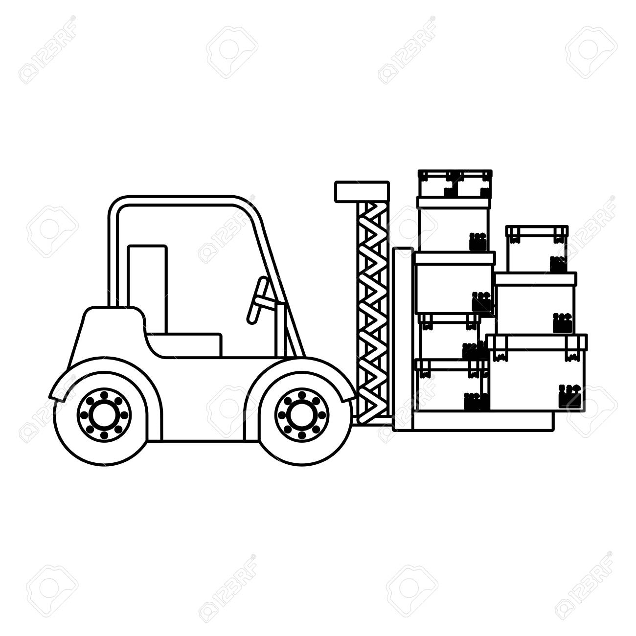 hight resolution of 1300x1300 black silhouette contour forklift truck with forks with boxes
