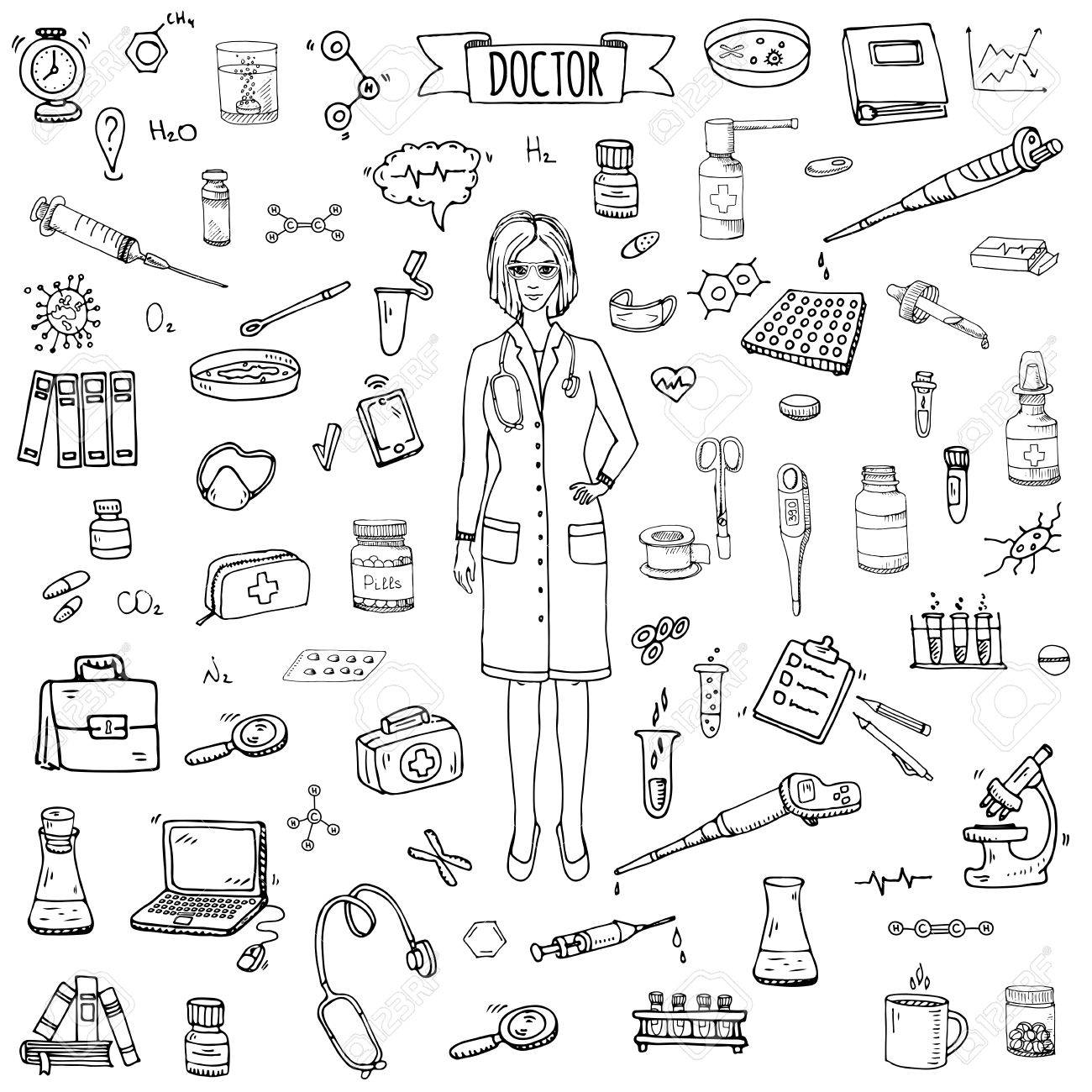 hight resolution of 1300x1300 hand drawn doodle doctor icons set vector illustration sketch