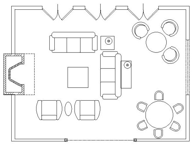 Hand Drawn Room Interior Sketch Sofa Table And Other