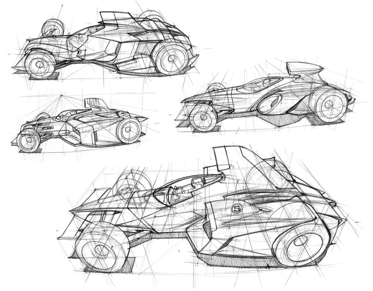 Future Flying Car Drawings Sketch Coloring Page