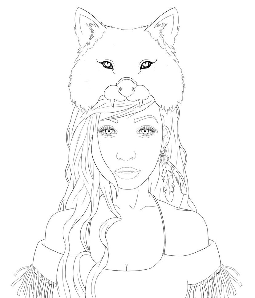 girl drawing outline at