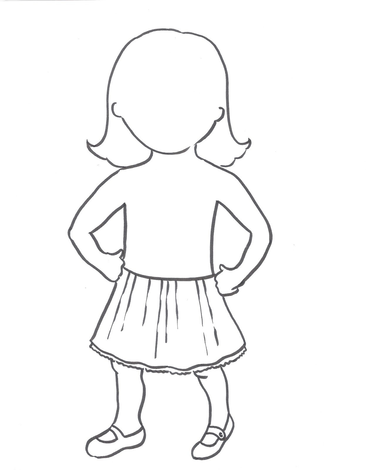 outline of a girl template - April.onthemarch.co