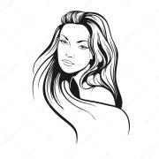 girl with long hair drawing