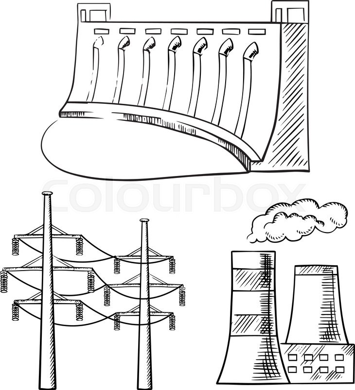 The best free Power plant drawing images. Download from