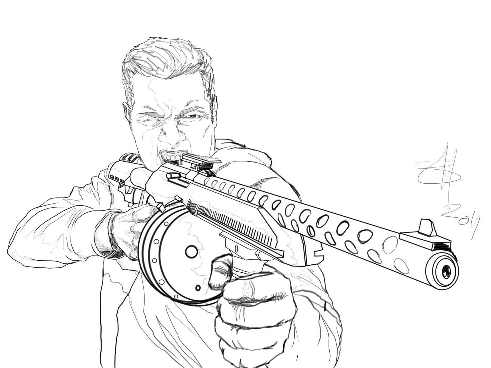 Gun Drawing In Pencil At Getdrawings