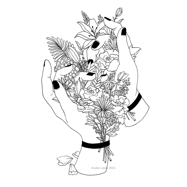 Hands Holding Rose Drawing Transparent Tumblr