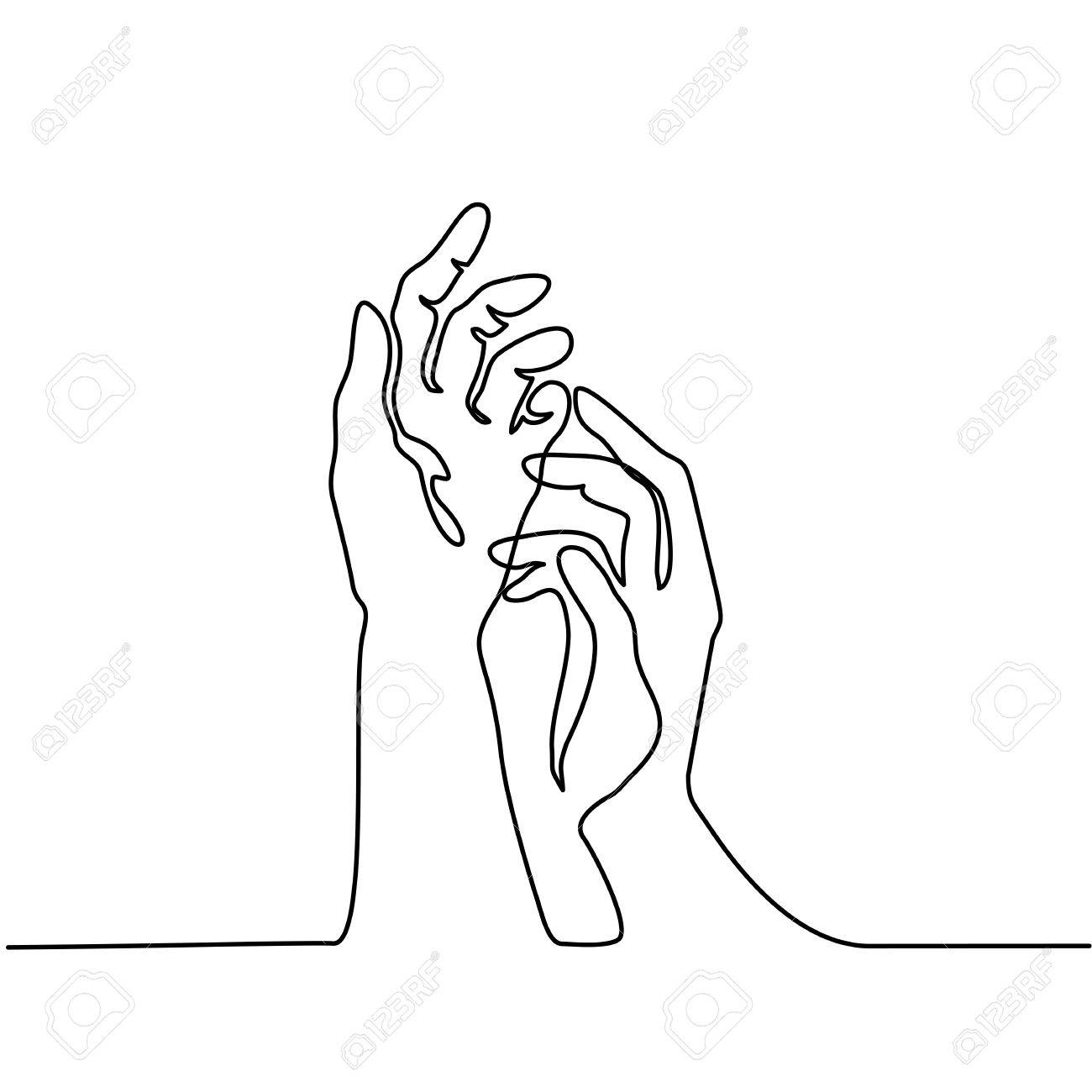 Hands Line Drawing At Getdrawings
