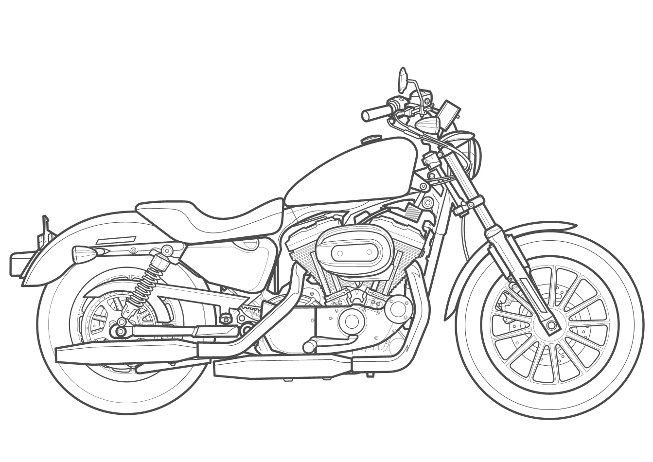Harley Davidson Motorcycle Drawing at GetDrawings.com