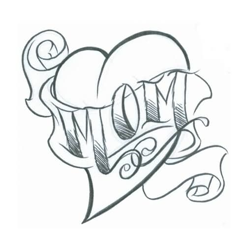 Heart With Banner Drawing At Getdrawings Com